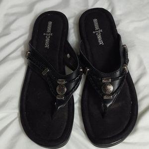 Minnetonka black leather sandals